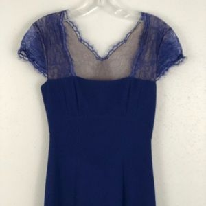 BCBGMaxAzria Dresses - BCBG Blue Lace Julia Long Formal Dress Size 2